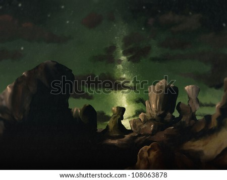 digital landscape painting of a galaxy of stars streaking across the night sky above shadow covered rock formations