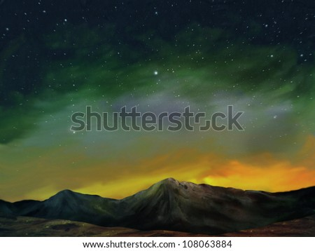 digital landscape painting of a star filled night sky above a range of rocky shadow covered mountains - stock photo