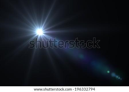 digital lens flare in black bacground horizontal frame - stock photo