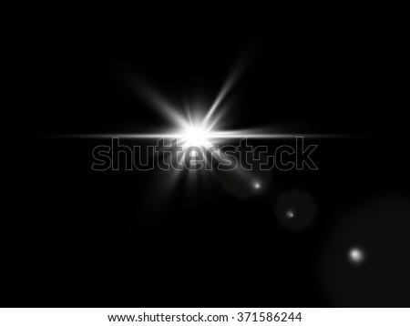 digital lens flare in black background  - stock photo