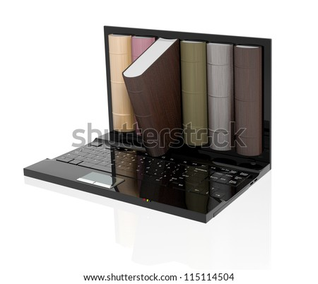 Digital library - stock photo