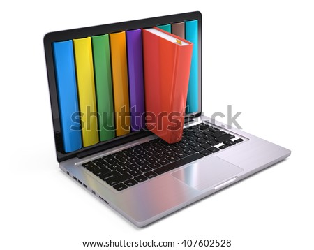 Digital library and online education concept - laptop computer with colorful books. 3d rendering - stock photo