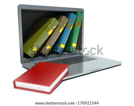 digital library - books inside computer - stock photo