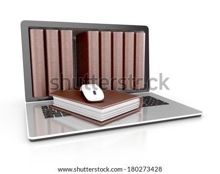 digital library - books inside computer concept. 3d illustration isolated on white background. - stock photo