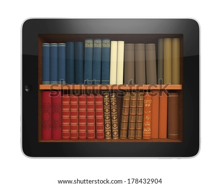 Digital Library Tablet - stock photo