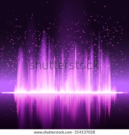 Digital magenta light Equalizer background. Raster version. - stock photo
