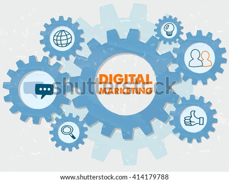 digital marketing and symbols in grunge flat design gear wheels infographic, business technology advertise conceptual words and signs - stock photo