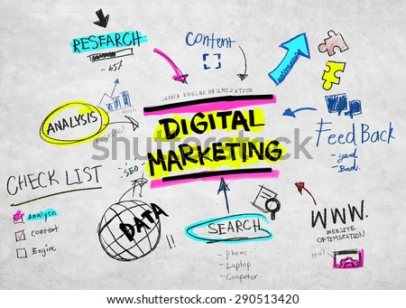 Digital Marketing Branding Strategy Online Media Stock Illustration