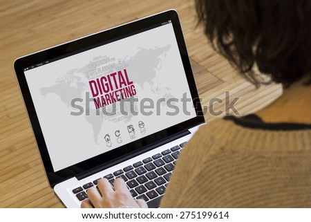 digital marketing concept: digital computer generated interface on a laptop screen - stock photo