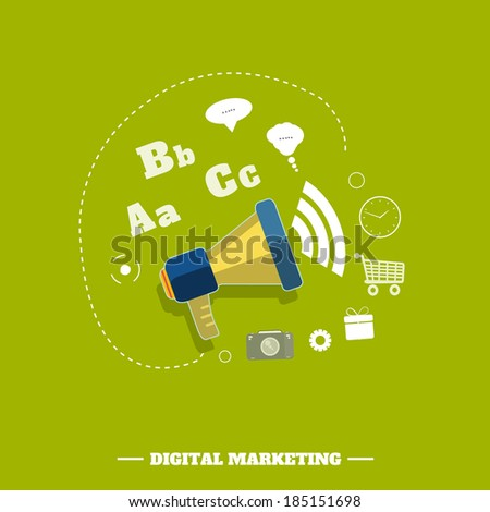 Digital marketing concept. Flat design stylish megaphone with application icons. Raster version