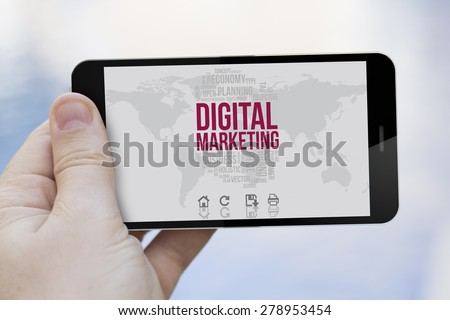 digital marketing concept: hand holding a blank screen 3d generated smartphone - stock photo