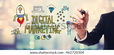 Digital Marketing concept with businessman on blurred abstract background