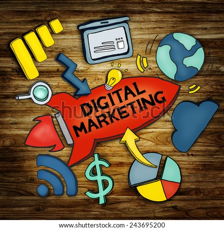 Digital Marketing Network Strategy Planning Concept - stock photo