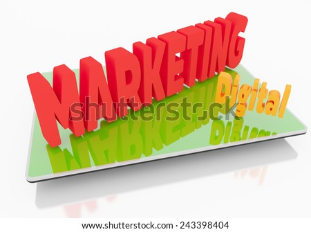 Digital Marketing on Tablet, business internet and technology concept