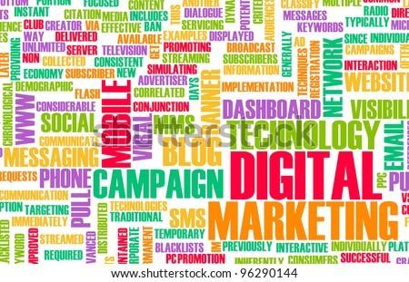 Digital Marketing on the Internet and Other Media - stock photo
