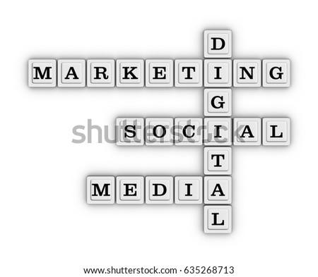 digital marketing social media crossword puzzle stock illustration, Powerpoint templates