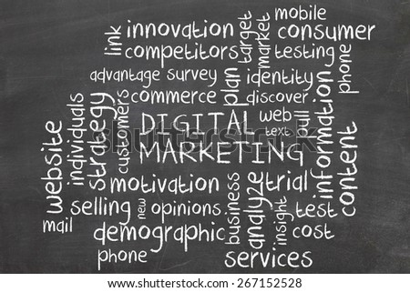 digital marketing word cloud - stock photo