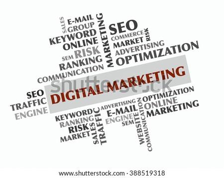 Digital Marketing word cloud, Business concept - stock photo