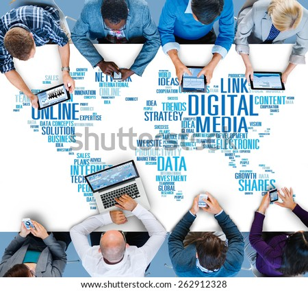 Digital Media Online Social Networking Communication Concept - stock photo