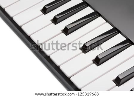 digital midi keyboard isolated on white background - stock photo