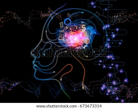 Digital Mind series. Abstract background made of silhouette of human face and technology symbols for use with projects on computer science, artificial intelligence and communications