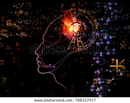 Digital Mind series. Abstract design made of silhouette of human face and technology symbols on the subject of computer science, artificial intelligence and communications