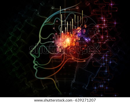Digital Mind series. Composition of silhouette of human face and technology symbols suitable as a backdrop for the projects on computer science, artificial intelligence and communications