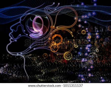 Digital Mind series. Creative arrangement of silhouette of human face and technology symbols as a concept metaphor on subject of computer science, artificial intelligence and communications