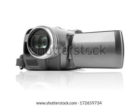 Digital MiniDV camcorder isolated on white - stock photo