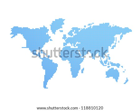Digital model of world: blue and white geography map - stock photo