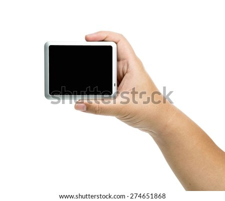digital monitor screen in hands over white background