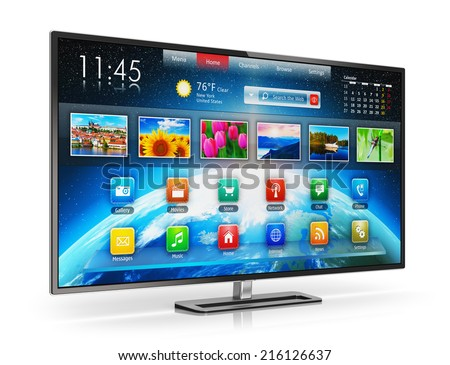 Digital multimedia entertainment and media television broadcasting internet business concept: smart TV display screen with color web interface isolated on white background with reflection effect