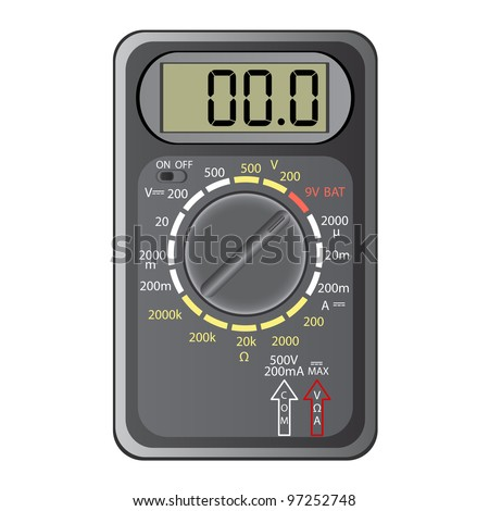 Digital multimeter. illustration. Isolated on white background. Vector version also available in portfolio. - stock photo