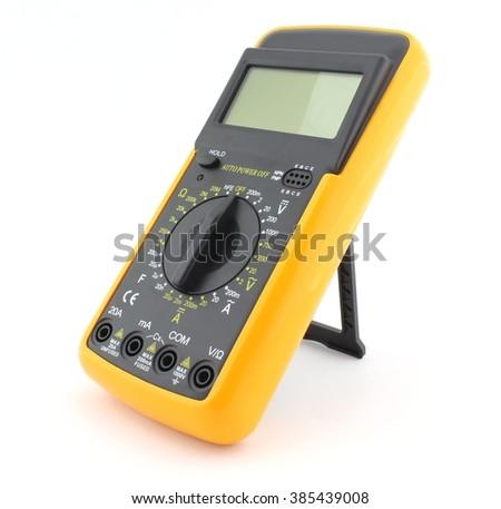 Digital multimeter isolated on white - stock photo