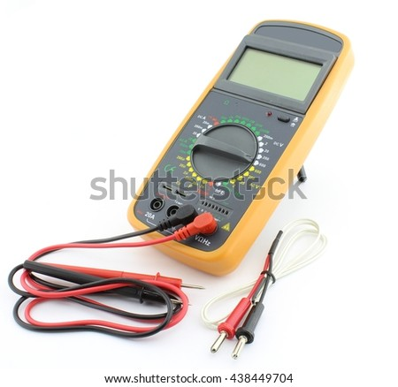 Digital multimeter with probes, and temperature senzor - stock photo