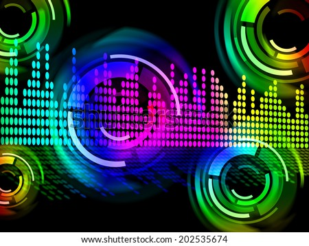 Digital Music Beats Background Meaning Electronic Music Or Sound Frequency  - stock photo