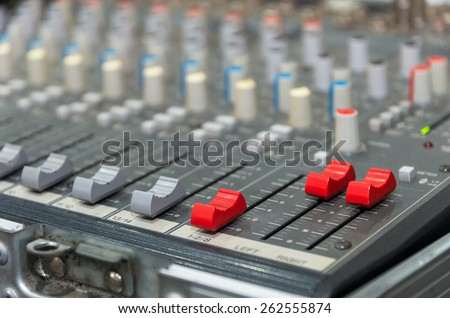 Digital music equipment, music mixer with track - stock photo