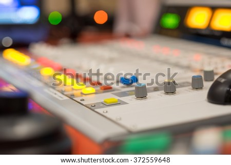 Digital music studio mixer for recording or radio / tv broadcast background