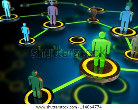 Digital network connecting many different people. Digital illustration. - stock photo