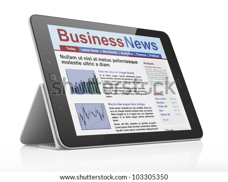 Digital news on tablet computer screen, 3d render - stock photo