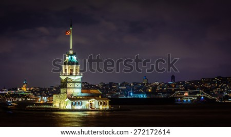 Digital night photography. Night landscape. Photo is taken in Istanbul, Turkey. Photo presents the Maiden's Tower lying on a small islet located in Bosphorus. Kiz kulesi. - stock photo