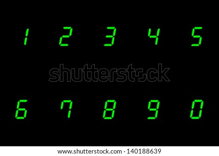 digital numbers on from 0 to 9 on black background