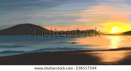 Digital oil painting, beautiful sunset - stock photo