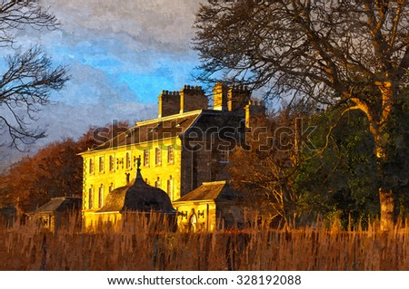Digital oil painting from a photograph of Pollok House, Glasgow, Scotland,  built in 1752, designed by William Adam, ancestral home of Maxwell and Jardine families - stock photo
