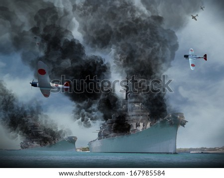 Digital Oil Painting of an attack similar to Pearl Harbor in World War 2. - stock photo