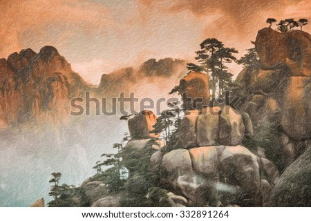 Digital oil painting of Mount Huangshan,China - stock photo