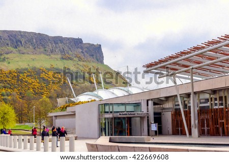 Digital oil pastel sketch from a photograph of the exterior of the Scottish Parliament Building, Holyrood, Edinburgh, Scotland, designed by the architect Enric Miralles - stock photo