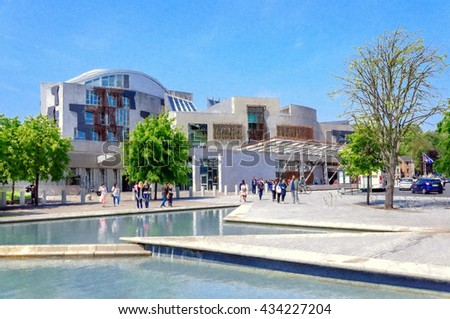 Digital oil pastel sketch from a photograph of the exterior of the Scottish Parliament Building, Holyrood, Edinburgh, Scotland - stock photo