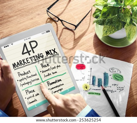 Digital Onine 4P Marketing Mix Office Working Concept - stock photo