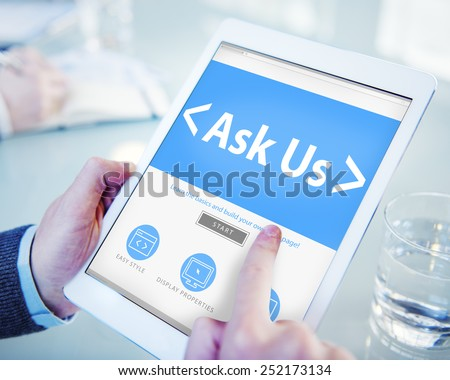 Digital Online Business Feedback Ask Us Concept - stock photo